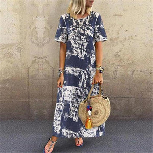Fashion Round Collar Printed Short Sleeves Casual Dresses