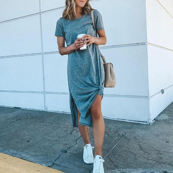Fashion Solid Color Short Sleeve Split Thigh Dress