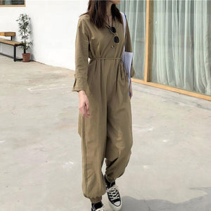 Casual Belted Pure Colour Waist Jumpsuits