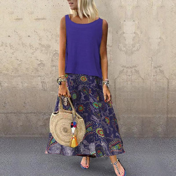 Leisure Loose Vintage Print Maxi Dresses