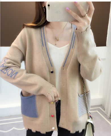 Fall Women Long Sleeve Knitted Colorful Button Cardigans Sweaters