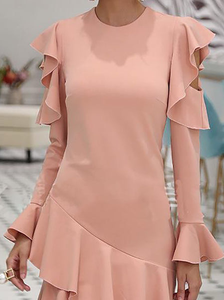 Fashion Ruffled Pure Colour Long Sleeve Mini Dresses