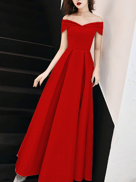 Sexy Off-Shoulder Pure Colour Slim Evening Dress