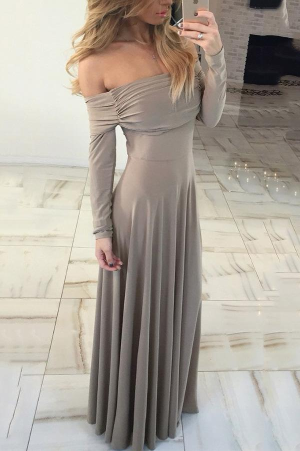 Cutaway Shoulder Long Sleeves Evening Dress