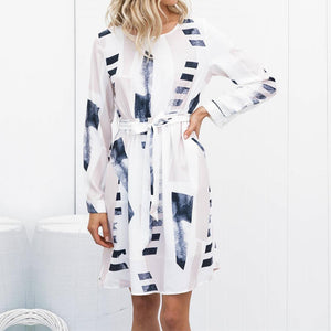 Casual Geometry Printed Colour Long Sleeve Dresses