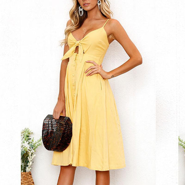 Fashion Pure Colour Sling Bare Back Bow Casual Dresses