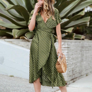 Fashion Ruffled Deep V Polka Dot Slit Casual Dresses