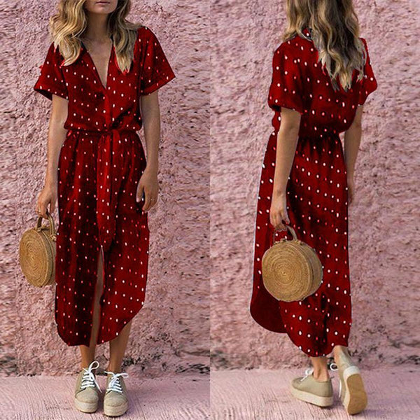 V Collar Short Sleeve Irregular Wave Button Maxi Dresses