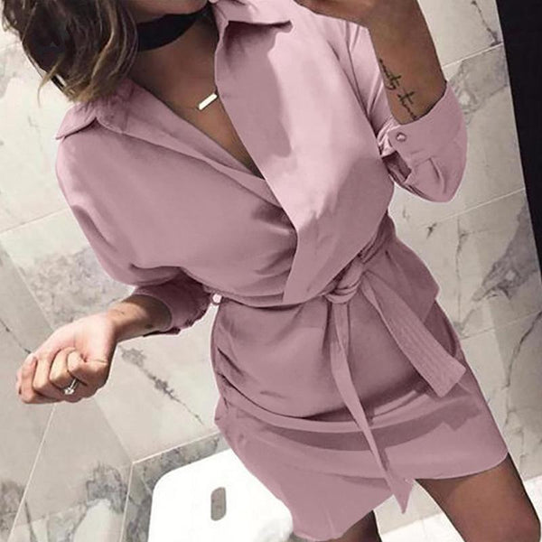 Fashion Turndown Collar Long Sleeve Belted Mini Dresses