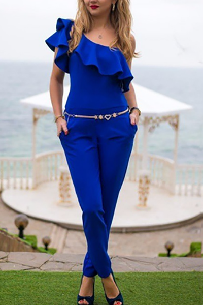 Fashion Sloping Shoulder Pure Colour Ruffled Jumpsuits