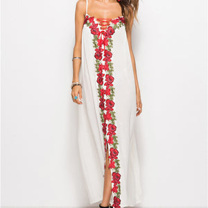 Women Summer Dress Sexy Bohemian Beach Dresses Bandage Loose White Maxi Dress Oversize