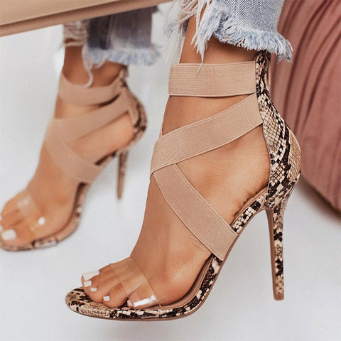 Women Summer Fashion Cross Tied Thin Heels Ladies Fabric High Heels Female Snake Pattern Open Toe Pumps Woman
