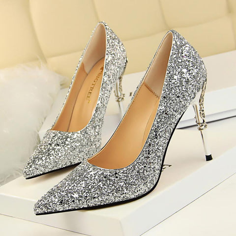Glitter Gold Silver Pumps Sexy Pointed Toe Over High Heels Wedding Party Shoes Women Pumps