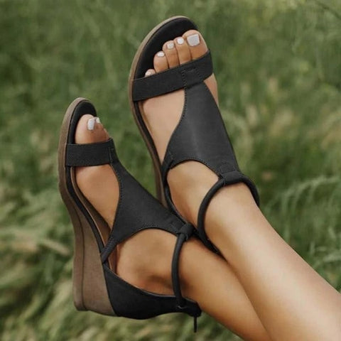 Summer Sandals Fashion Solid Zipper Wedges Women Shoes Casual Open Toe Ladies