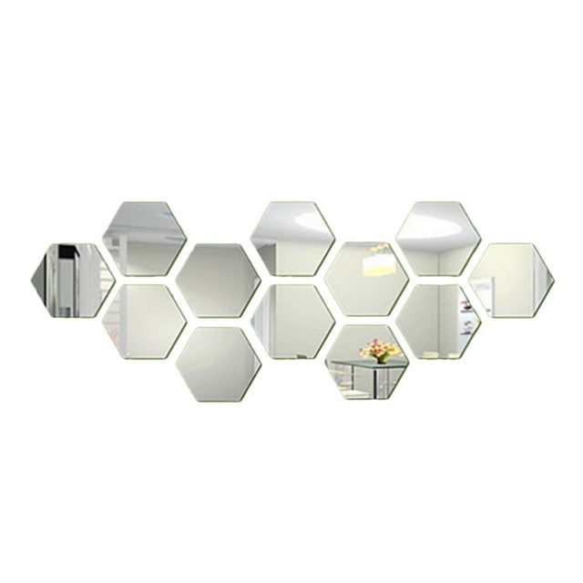 24 Piece Hex Mirror Tiles