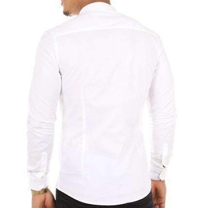 Frilivin - Chemise manche longue blanche col mao #9001 - Stayin
