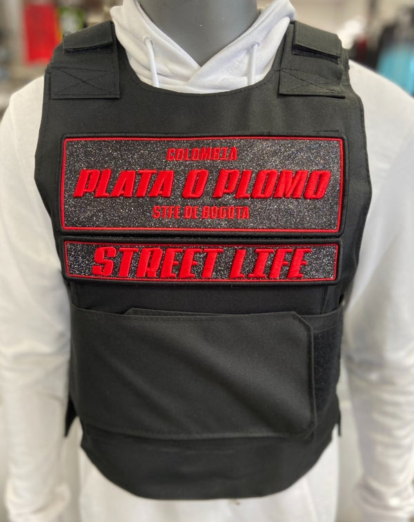 Gilet tactique noir Plate o Plomo rouge - Stayin