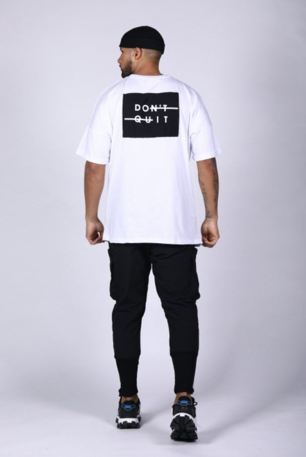 T shirt blanc oversize Don't Quit #LL301 - Stayin