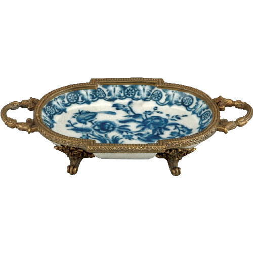 Blue De Chine Small Plate With Brass Claw Feet