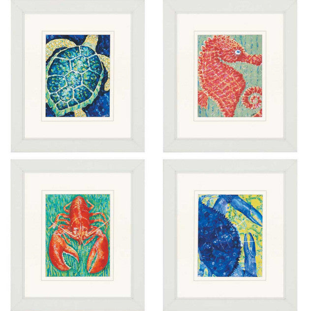 "Sea Creatures 26"" H Framed Artwork"