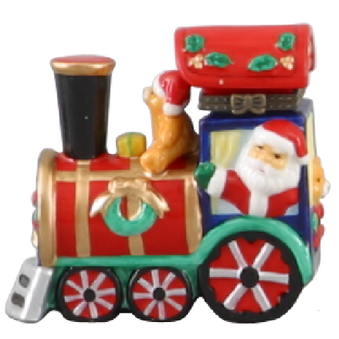 Limoges Style Christmas Train Ring Box
