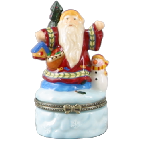 Limoges Style  Santa Claus Ring Box