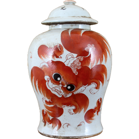 Red Foo Dragon Ginger Jar 11""