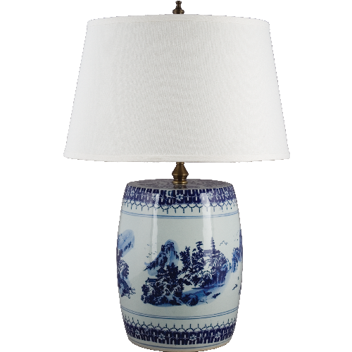 "Blue + White Garden Stool Lamp 30"" H"