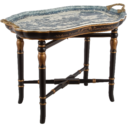 Blue De Chine Tray With Wood Antiqued Stand