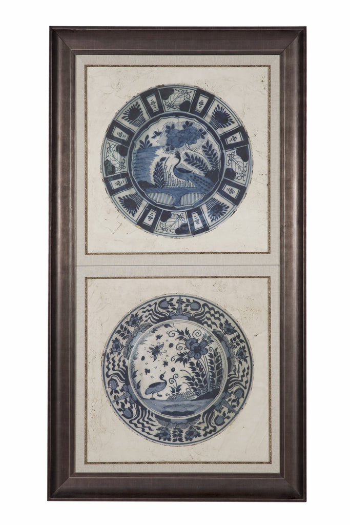 "Blue De Chine Birds -  Embellished Earthenware (A) - Artwork 61"" H    Framed"