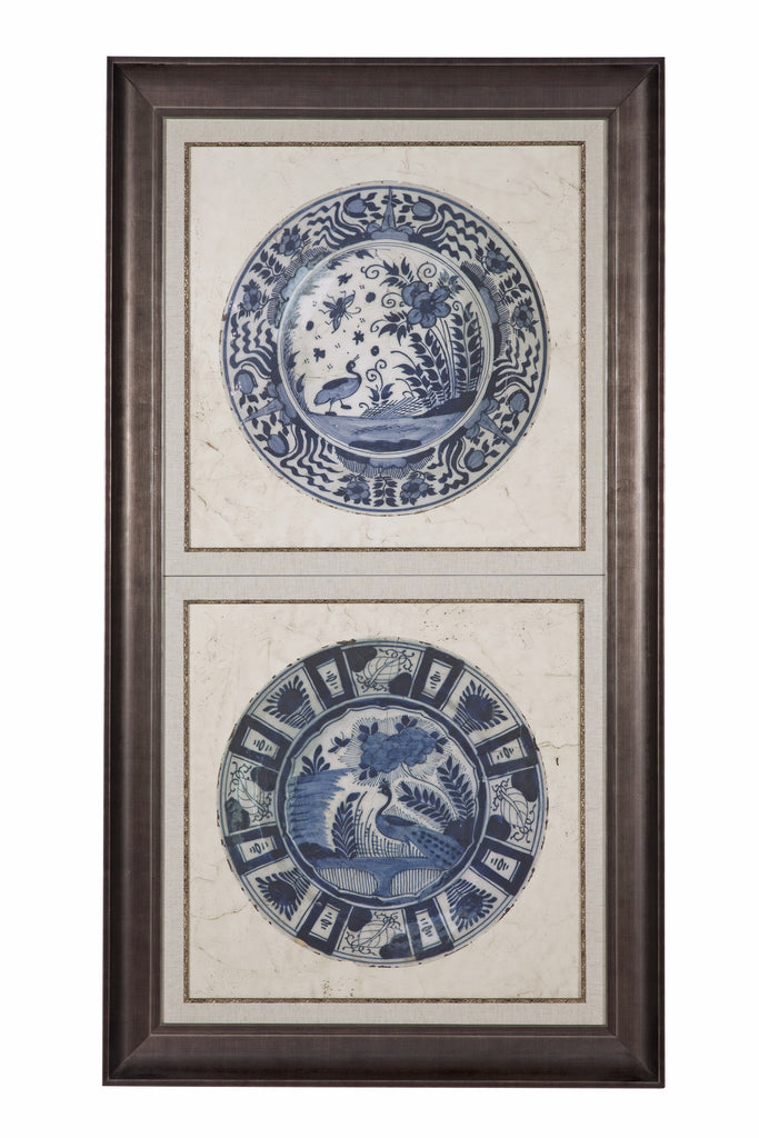 "Blue De Chine Birds Embellished Earthenware (B) Artwork 61"" H"
