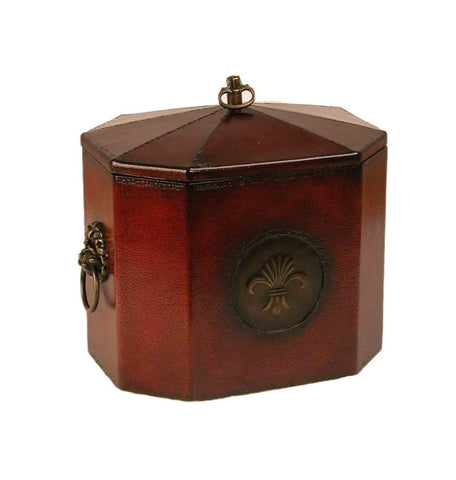 Octagon box, red leather & brass