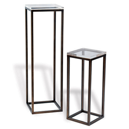 "Providencia Collection //  Pedestal Table in Bronze + Lucite 40"" H  + 25"" H"