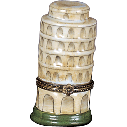 Limoges Style Leaning Tower Pisa Ring Box