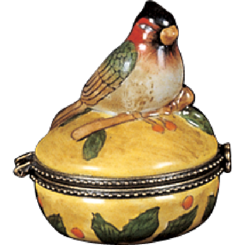 Limoges Style Cardinal on Perch Ring Box