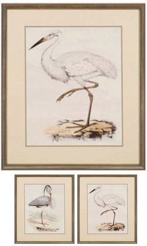 "Keys Antique Heron  W - 28"" H X 24"" W  Framed Artwork"