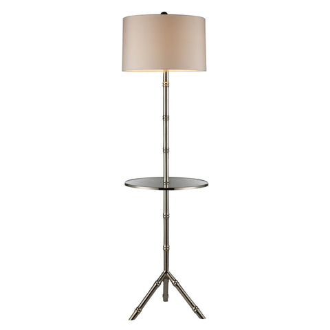 "Tripod Floor Lamp 59"" H - Silver Plated Finish with Glass Tray"