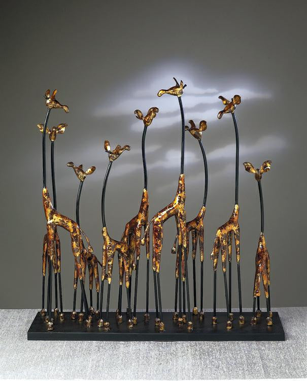 "Giraffe Herd in Bronze Finish 26"" H x 26"" W"