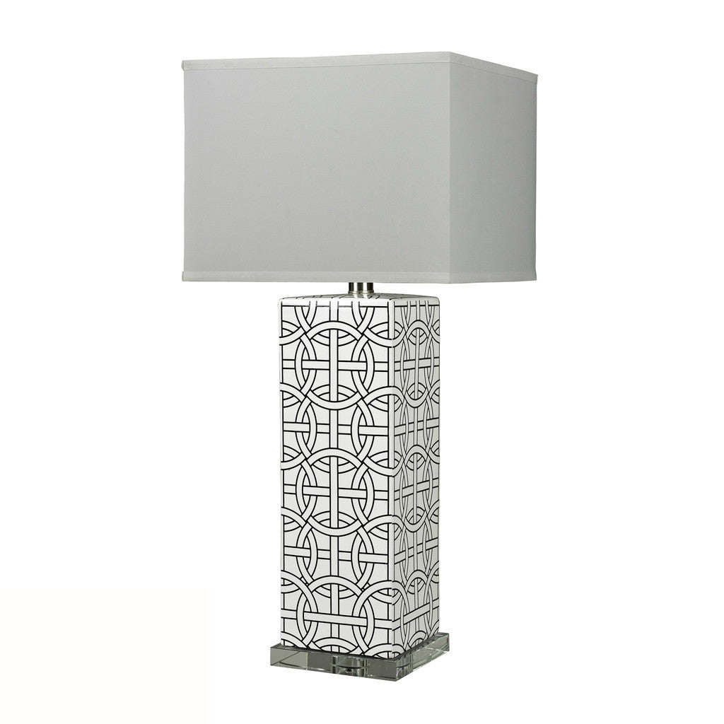 "GEO/Table Lamp 31"" H  - Painted Linked GEO Pattern- Pure White Flat Sateen Shade"