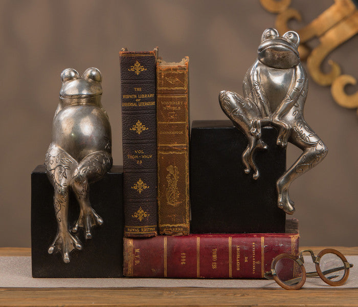 "Bookends Antiqued Silver 10"" H Mr + Mrs Toad"
