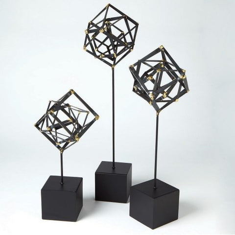 Bleecker Collection Tilted Cubes on Base  / 3 Sizes