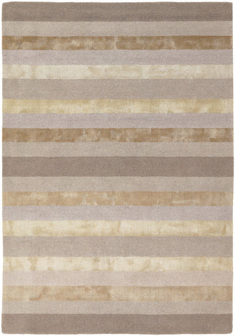 "5' X 7' - 6"" Stripe Trio Area Rug Hand Tufted"