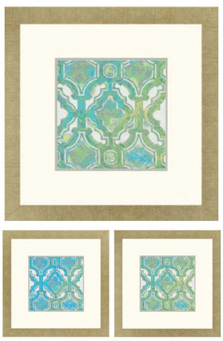 "Granada Tile Print  24"" H X 24"" W  Framed Artwork"
