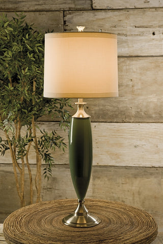"Palm Beacher  Glass Table Lamp 40"" H - Jade"