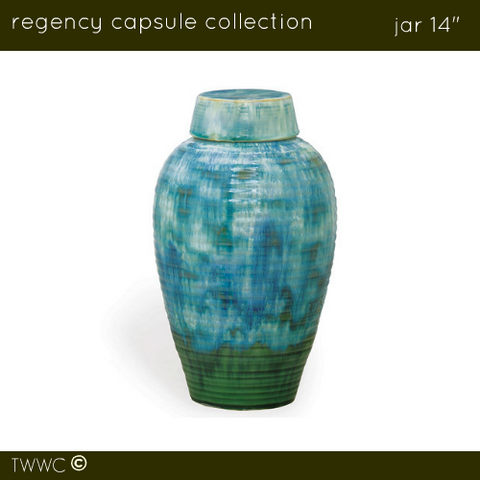 "Regency 14"" Jar - Sea Green/Blue"