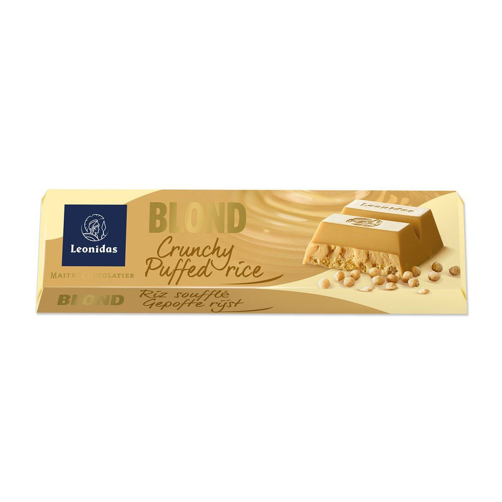 Blond Chocolate Crunchy Puffed Rice Bar 45g Classic Leonidas Chocolates-uk
