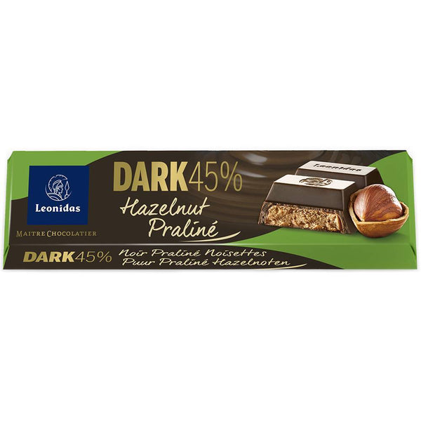 Dark Chocolate Hazelnut Praline Chocolate Bar 50g Classic Leonidas Chocolates-uk