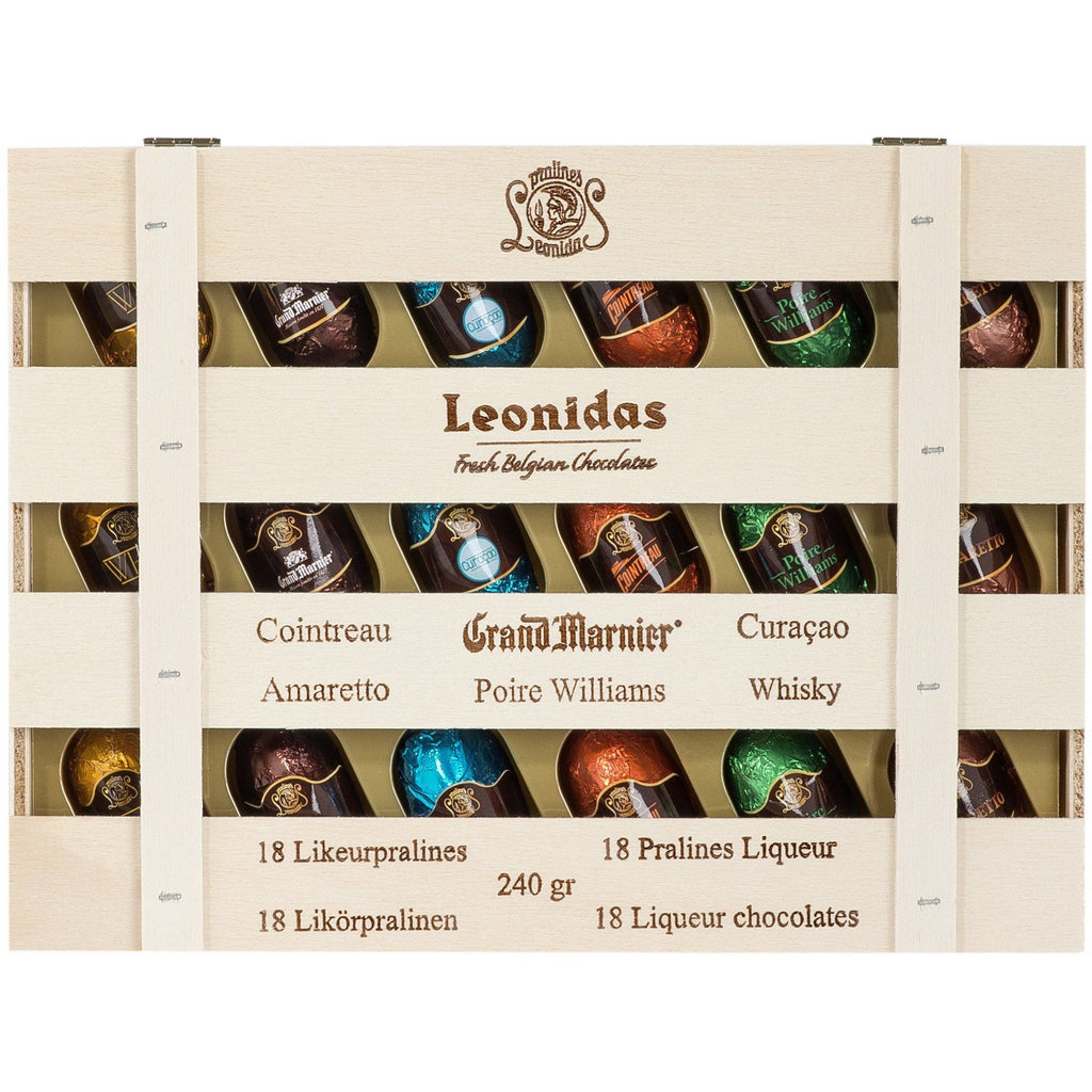 Liquor Wooden Crate 18 pieces Classic Leonidas Chocolates-uk