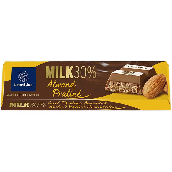 Milk Chocolate Almond Praline Bar 50g Classic Leonidas Chocolates-uk
