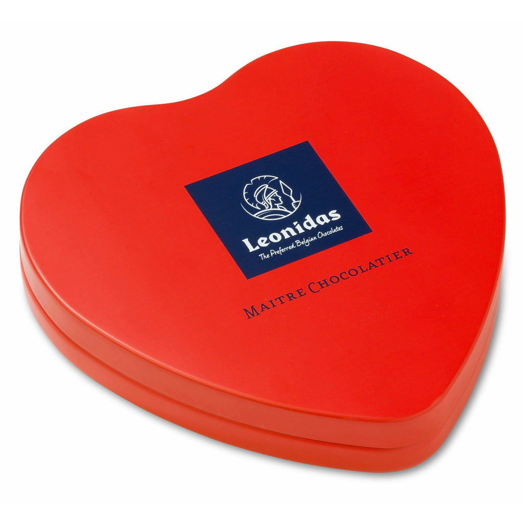 Red Metal Heart (120gr) Classic Leonidas Chocolates UK